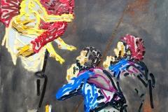 """""""Magdalena und die Pilger"""" (nach Caravaggio) 110 cm x 155 cm Öl auf Leinwand"""