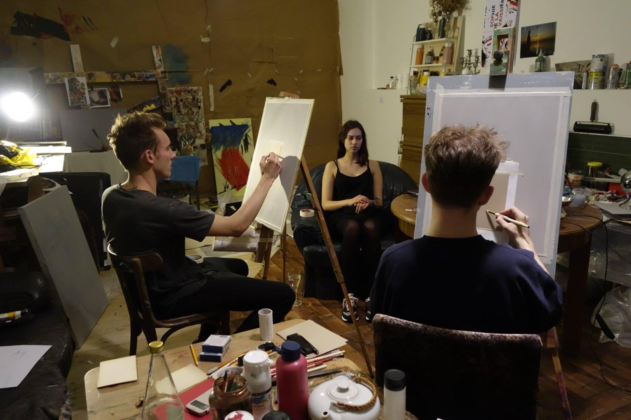 Session Gustav Sonntag / Feliks Stift Kollektiv exlex portraitmalerei