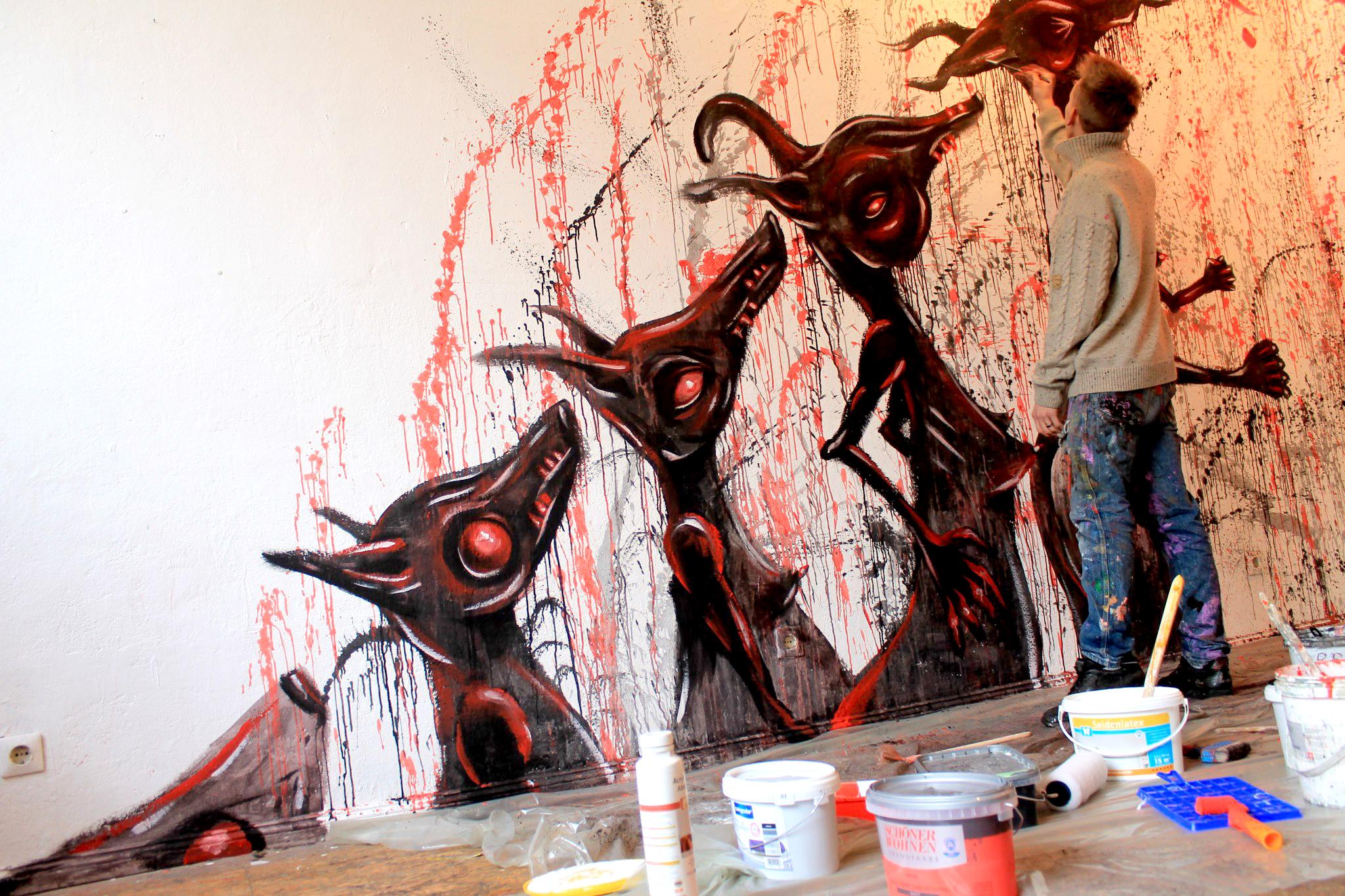 metamorphose livepainting feliks stift gustav sonntag acrylmalerei